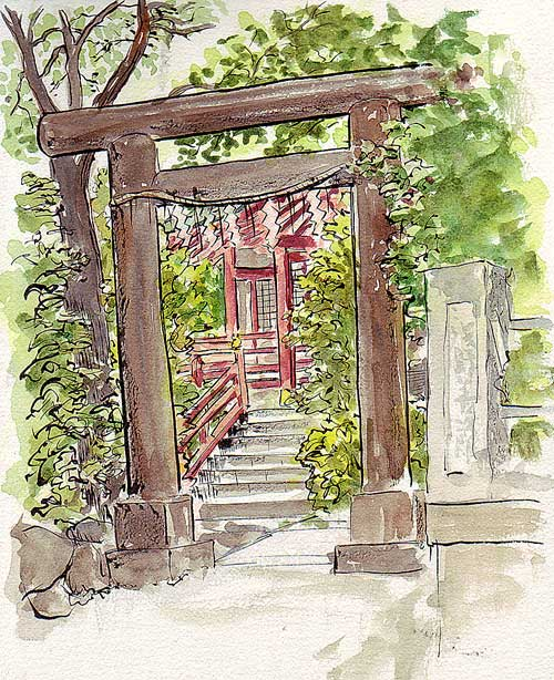 Shinto Shrine Drawing a Local Shinto Shrine And