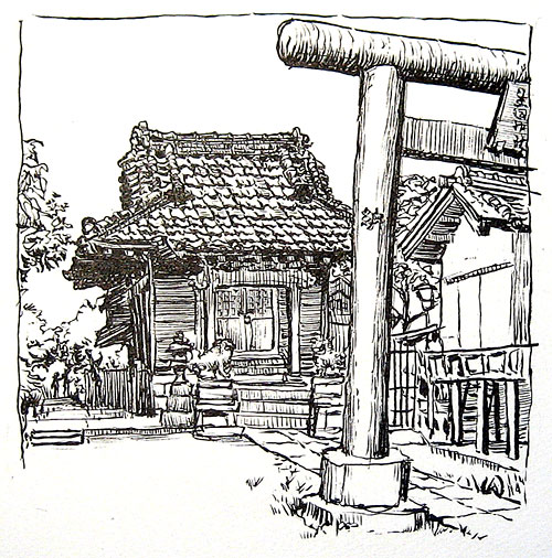 Shinto Shrine Drawing Ink Drawing Before i Added